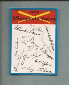 1973  unnumbered BLUE TEAM Checklist  Minnesota TWINS   Excellent-Mint