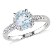 Diamond Accent Genuine Aquamarine Ring