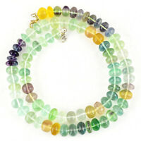 AMAZING 393.00 CTS NATURAL UNTREATED MULTICOLOR FLUORITE ROUND BEADS NECKLACE