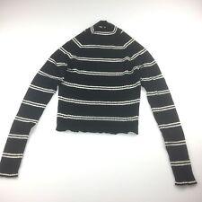 Ladies size 12, Alannah Hill, black ribbed wool crop sweater, white stripes, EUC