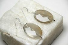 Moonstone White 18 x 25mm Faceted Oval Gemstone Sterling Silver Earrings 1 3/4""