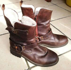 Superdry Womens Leather Biker Ankle Boots - Size 7 - Used