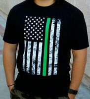 "The ""Thin Green Line"" American Flag Graphic T-Shirt Vertical Unisex"