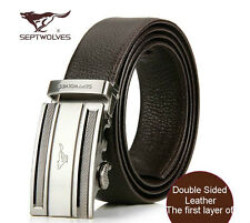 Luxury Septwolves Men's Belts Fine Black&Brown Double Side First Layer Leather