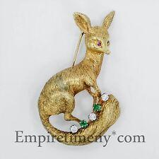 18K Yellow Gold Fox Brooch Pin w/ Diamonds & Green Emeralds