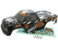 HPI 1/12 Wheely King 4x4 * MINI GT-1 BLACK & GRAY TRUCK BODY, DECALS & 4 CLIPS *