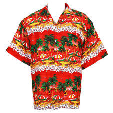 Hawaiian Shirt Alohcn Hibiscus Chaba Flower Art Holiday Red M Hb271r