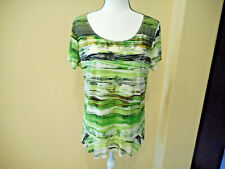 Sunny Leigh Woman Multicolor Peplum ShortSleeve Tunic Blouse T-Shirt Top Size XL
