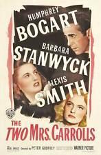 THE TWO MRS. CARROLLS Movie POSTER 27x40 Humphrey Bogart Barbara Stanwyck Alexis