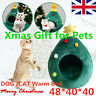 Christmas Pet Dog Cat Bed House Comfy Sleeping Kennel Cave Tree Shape Tent UK