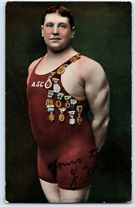 Jabez Wolffe Channel Swimmer 22 Unsuccessful Attempts Signature Postcard c1906