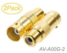 2-Pack RCA Female to BNC Female Gold Plated 75ohm Coax Adapter, AV-A00G-2