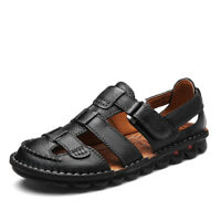 Summer Men Big Size Walking Sandals Genuine Leather Outdoor Fishing Casual Shoes