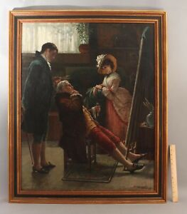 Lrg 19thC Antique WALTER SATTERLEE Interior Oil Painting Artist Studio Portrait
