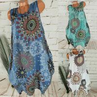 Plus Size Women Sleeveless Mini Dress Ladies Summer Sundress Tunic Dress Holiday