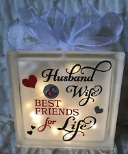 Glass Light Block Husband Wife Best Friends Life Quote Couple Wedding Gift