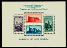 """SPAIN 1938 MONUMENTS BLOCK S/S w/ blue inscription """"VIVA ESPANA!CORREO AEREO"""" NH"""