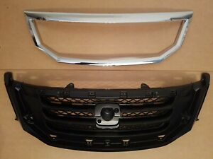 2PC Set 2008-2010 ODYSSEY Front Bumper Upper Grille & Chrome Molding Trim NEW