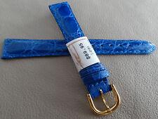 ZRC Francia Blu Originale Coccodrillo 14mm Cinturino Orologio Color Oro Fibbia