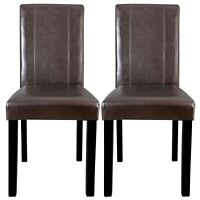 Set of 2 Brown Leather Backrest Elegant Dining Parson Chair Armless Kitchen Room