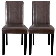 Set of 2 Leather Dining Side Room Kitchen Chairs Seating Backrest Wooden Legs