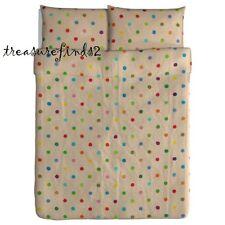 Polka Dot Natural 100% Linen Full Queen Duvet cover w/ PillowCases IKEA PS 2012