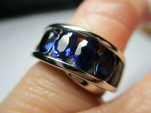 STERLING SILVER ROSS SIMONS SIX STONE CREATED BLUE SAPPHIRE BAND RING SIZE 6
