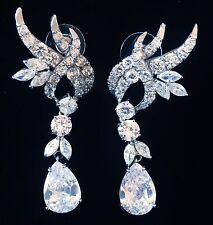 EARRING using Swarovski Crystal Dangle Drop Wedding Bridal Rhodium Silver CZ58