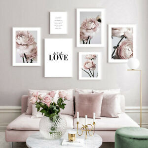 Ranunculus Flower Wall Art Painting Pink Floral Canvas Poster Print Home Decor
