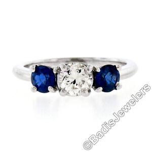 Solid Platinum 1.32ctw Round Brilliant Prong Sapphire Diamond 3 Three Stone Ring