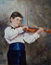 Young violinist Modern original music Musician oil painting on canvas