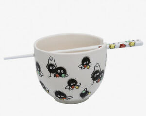 Studio Ghibli Spirited Away Soot Sprites Ceramic Ramen Bowl With Chopsticks