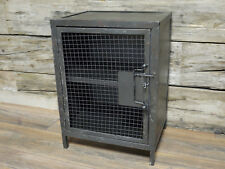 Industrial Black Cabinet 2 Shelves Vintage Rustic Bedside Media Storage Unit New