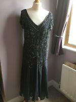 Joanna Hope Ladies size 18 grey embellished evening dress gold black chiffon