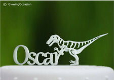 Personalised Name Birthday Cake Topper With Dinosaur (White)