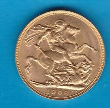 More details for 1908p edward vii gold full sovereign in near mint condition
