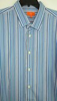 Tallia Mens Size XXL Long Sleeve Shades of Blue Striped Button Up Shirt Cotton M