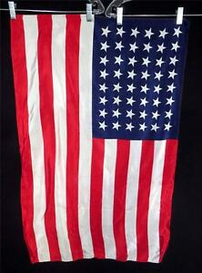 """VINTAGE 1940'S 48 STAR SILK UNITED STATES FLAGS 1912-1959 23"""" X 35"""""""