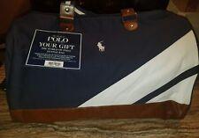 Ralph Lauren Polo Duffle Bag/gym Bag/weekender/travel BLUE WHITE NEW!
