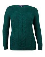 Jones New York Women's Basic Cable Knit Sweater (XL, Emerald)