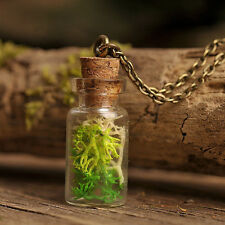 Fairy forest handmade necklace, real moss necklace, green moss pendant