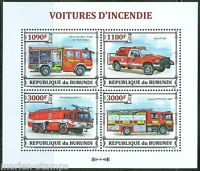 BURUNDI  2013 FIRE RESCUE VEHICLES  SHEET  MINT NH