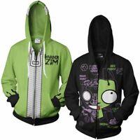 Unisex Invader Zim Gir Doom Hoodie Adult Hooded Zip Up Jacket Coat Sweatshirt AU