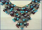 Art Deco Czech 1930's Filigree Turquoise/Red Beaded Cascading Links Bib / Collar