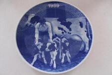 Porcellana danese Copenhagen rorholmsgade Blu & Bianco Piastra 1989 Cow & Vitelli