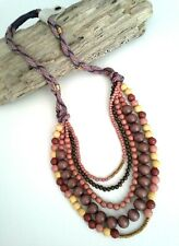 Anthropologie Statement Layered Necklace Wood Beads Woven $128