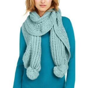 CHARTER CLUB ruffle edge knit pom pom women's scarf muffler - PALE GREEN