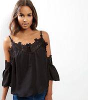 Womens Parisian Curve Black Crochet Frill Cold Bell Pleat Flare Strap Top 18-32