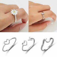 Women Girls Charm  Silver Ring Finger Jewelry Wedding Engagement Party Gift