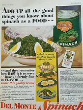 1930 Del Monte spinach deviled eggs original food ad